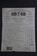 Facture Ancienne , BEZIERS, Francois IZARD, Fabrique D'appareils Distillatoires - 1800 – 1899