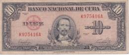 BILLETE DE CUBA DE 10 PESOS DEL AÑO 1949 DE CARLOS MANUEL CESPEDES  (BANK NOTE) - Cuba