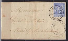 LAC France N° 78 Oblitération Coulanges Sur Yonne 01/09/1877 Pour Mailly-le-Château - Storia Postale