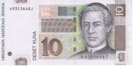 BILLETE DE CROACIA DE 10 KUNA DEL AÑO 2001  (BANKNOTE) - Croacia