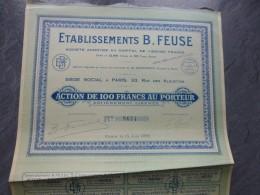 Etablissements FEUZE, Paris 33 Rue Des Alouettes,  Lot De 7 Actions De 100 F ; Ref ACT F - Shareholdings