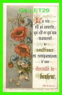 IMAGES RELIGIEUSES - LA VIE EST SI COURTE QU'UN MOMENT DE SOUFFRANCE VS UNE ÉTERNITÉ DE BONHEUR - No 325 - EN 1890 - Images Religieuses