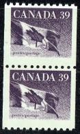 1989   39¢ Flag Coil Stamp  Sc 1194B Vertical Pair MNH - 1952-.... Règne D'Elizabeth II