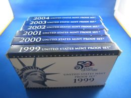 6 UNITED STATES BLUE/WHITE BOX (2000s) PROOF SETS            (erps20-25) - Federal Issues