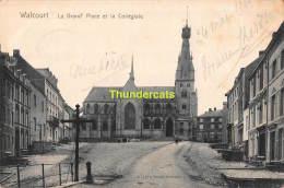 CPA  WALCOURT LA GRAND PLACE ET LA COLLEGIALE - Walcourt