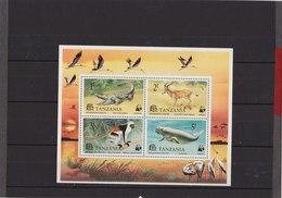 TANZANIA 1977 WWF Block Of Mammals + Reptile MNH - W.W.F.