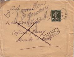 SEMEUSE - IMPRIME PERIODIQUE - 2c SEMEUSE VERTE N°278 - LETTRE DU GARD POUR CONFLANS-JARNY - RETOUR ENVOYEUR - LE 10-8-. - Postmark Collection (Covers)