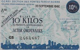 Billet De  10 Kg De Produits Sidérurgiques - Monnaies & Billets