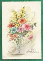 Joli Bouquet De Fleurs Dans Un Vase Vive Sainte-Catherine 2 Scans - Bloemen