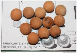 """Jeux Anciens - Lot De 12 Billes En Terre Cuite Début XXe """"Ets Pierron"""" à Menucourt 95 Val D´Oise - Bille - Jouets Anciens"""