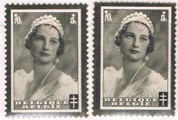 Année 1935  COB 415-V** - Grande Mèche - Antituberculeux - Deuil S.M. La Reine Astrid- Cote  6,50€ - Unused Stamps