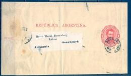 ARGENTINA 1888 , FAJA POSTAL PARA IMPRESOS CIRCULADA ENTRE BUENOS AIRES Y OSNABRÜCK - Cartas