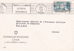 1937 - France - Enveloppe De Lyon Gare Vers Berne, Suisse - 1f50 Exposition Internationale - OMEC Loterie Nationale - France