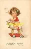 Enfants, Bonne Fête, Fillette Sur Un Mouton à Roulettes - Cartes Humoristiques