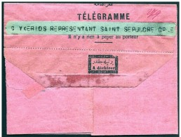 Turchia/Turkey/Turquie: Telegramma Intestato Al Rappresentante Del Sano Sepolcro, Télégramme à L'ordre Du Représentant D - 1858-1921 Empire Ottoman