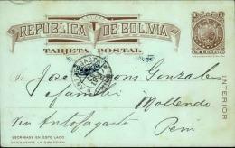 BOLIVIE - Entier Postal Pour Mollendo ( Pérou ) Via Antofagasta ( Chili ) En 1904 - A Voir - L 4304 - Bolivia