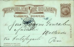BOLIVIE - Entier Postal Pour Mollendo ( Pérou ) Via Antofagasta ( Chili ) En 1904 - A Voir - L 4304 - Bolivie