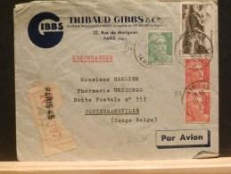 63/438  LETTRE RECOMM. 1950 POUR LE CONGO BELGE - Marcofilie (Brieven)