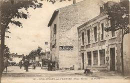 Cpa Coulonges Sur L'autize La Poste Et Publicite Cycles Gladiator - Coulonges-sur-l'Autize