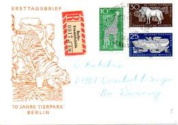 RDA. N°797-9 De 1965 Sur Enveloppe 1er Jour Ayant Circulé. Girafe/Iguane/Gnou.