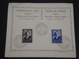 BELGIQUE - Oblitération 1 Er Jour De La Fondation Musicale Par La Reine Elisabeth En 1937 Sur Document - A Voir - L 4323 - FDC