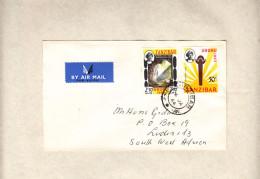 Zanzibar Air Mail ZANZIBAR 4 JA 64> LUDERITZ (S.W.Africa) Uhuru Stamps 30c + 2/50 - Zanzibar (...-1963)