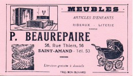 Buvard Meubles P Beaurepaire 56 Rue Thiers à Saint-Amand - Carte Assorbenti