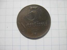 Latvia 5 Santimi 1922 VF+ Name Below Ribbon - Latvia