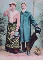 Cpa  COUPLE LENDEMAIN De NOCES , LA SARTHE , 1925 , Jeunes Mariés, Costumes, Parapluie, Chapeau Recto Verso Prix Fixe - Noces