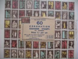 Feuille  Complète 60  Timbres De Couronnement  Très Bon état, 60 CORONATION Souvenir Of Stickers Stamps All Differnt - Cinderellas