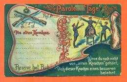 "CPA Militaria Allemagne "" Die Alten Knochen - Parole .. Tage "" Tonneau De Biére - Umoristiche"