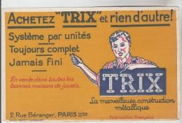 BUVARD JOUETS CONSTRUCTION METALLIQUE TRIX é Rue Béranger PARIS - Système Par Unité Toujours Complet Jamais Fini - Buvards, Protège-cahiers Illustrés
