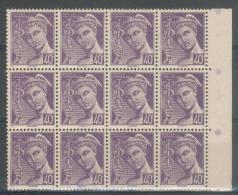 France - 1942 -Sup Bloc De 12 Valeurs - Type Mercure 40c.violet - Y&T N° 548 ** Neuf Luxe  ( Gomme D´origine Intacte ) - 1938-42 Mercure