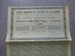 TOULOUSE, Sté Anonyme FILATURES De La GARONNE ; Lot De 6 Actions De  500 F 1921 ; Ref G 2 - Shareholdings