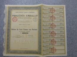 LYON, Procédé EMBALLO, Lot De 6 Actions 100 F 1929 ; Ref  E - Shareholdings