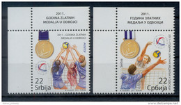 2011 - SERBIA - ANNO DI MEDAGLIE D'ORO NELLA PALLAVOLO / YEAR OF GOLD MEDALS IN VOLLEYBALL. MNH - Serbia