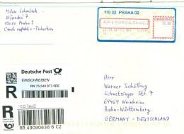 Tschechische Republik 2016 Prag 02 Automatenmarke R-Brief Nach BRD - Tschechische Republik
