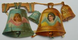 Fin XIXème : Grand Chromo Découpi CHOCOLAT PAYRAUD CLOCHES DE PAQUES Avec ANGES - Anges