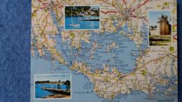 CPSM GOLFE DU MORBIHAN GEOGRAPHIQUE D APRES CARTE MICHELIN N° 63 JOB A 27   1974 - Mapas
