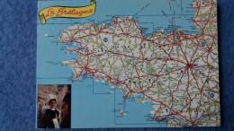 CPSM LES DEPARTEMENTS BRETONS GEOGRAPHIQUE D APRES CARTE MICHELIN N° 989 BRETAGNE - Mapas
