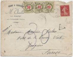 Lettre Taxée Pour La Suisse - 1877-1920: Période Semi Moderne