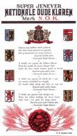 Etiket Etiquette - Genever  - Nationale Oude Klaren - Mouliez Kortrijk - Etiquettes
