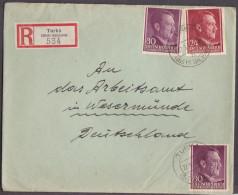 Nb_ Generalgouvernement - Mi.Nr.  78 + 79 - Einschreiben Turka - Wesermünde - Besetzungen 1938-45