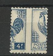 ALGERIE - NON DENTELE - YVERT N° 222 * SUPERBE PIQUAGE à CHEVAL - COQ - Algérie (1924-1962)