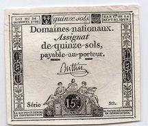 FRANCE : Assignat 15 Sols 1792. Serie 22 (aunc) - Assignats & Mandats Territoriaux
