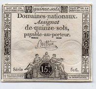 FRANCE : Assignat 15 Sols 1792. Serie 516 (aunc) - Assignats
