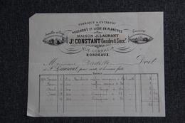 Lettre Ancienne Publicitaire ,BORDEAUX, Fabrique De Bouchons Et Liège En Planches, J.CONSTANT Gendre Et Succession. - 1800 – 1899