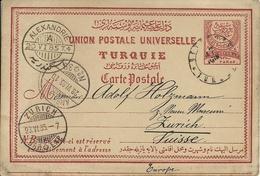 Turkey ; Ottoman Postal Stationery Sent To Zurich From Beirut. Bearing Alexandria Transit And Ambulant Postmarks - 1858-1921 Ottoman Empire