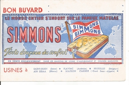 Buvard Le Fameux Matelas Simmons. Usines à Saint-Ouen, Flaviac, Ain Debaa, Maison Carrée (Oued Smar, Algérie) - Blotters