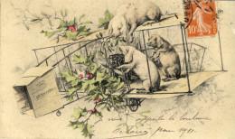 CPA ( COCHONS ) Cochons Sur Avion (petit Defaut Coin  Bas Haut) - Cochons